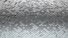 3D, Glossy Mosaic Tiles Arranged In The Shape Of A Wall. Arabesque, Silver, Bullion Stacked To Create A Polished Block Background. 3D Render