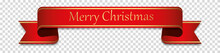 Merry Christmas - Red Vintage Ribbon Banner Label