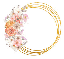 Gold Geometric Frame With Watercolor Flowers. Great For Greeting Cards And Printed Matter