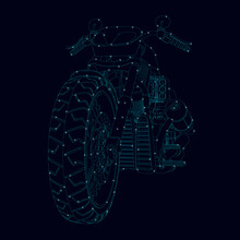 The Contour Of A Sports Motorcycle Made Of Blue Lines With Glowing Lights On A Dark Background. Front View. Vector Illustration