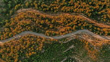 Aerial View Of Mountain Road At Dusk