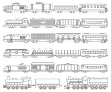 Locomotive With Wagon Isolated Outline Set Icon. Vector Outline Set Icon Railway Train. Vector Illustration Locomotive On White Background.
