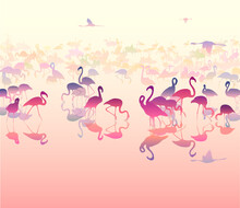 Vector Natural Background With Flamingos. Pink Tones