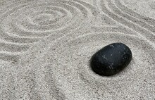 Pebbles In Different Shapes In A Japanese Art Garden