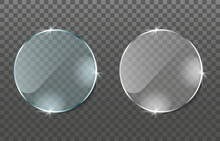 Realistic Glass Effect. Glass Plates On Transparent Background. Acrylic And Glass Texture With Glares And Light. Realistic Transparent Glass Window, Mirror In Circle Frame. Vector Illustration. PNG.