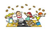 Fröhliche Kinder schmeißen zubereitete Kekse in Küche