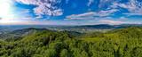 Fototapeta Na ścianę - Góry, Beskid Śląski, Równica okolice Ustronia, panorama z lotu ptaka w lecie.