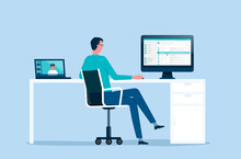 Flat Vector Businessman Working From Home Office Workplace Concept And Business Technology Smart Working. Work Online Connect From Anywhere Concept