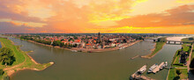 Aerial Panorama From The City Deventer In The Netherlands