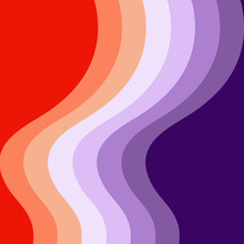 Retro Style Waves Geometrical Pattern Illustration With Red, Orange And Purple Stripes Decoration