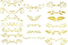 手描きのゴールドのツタ模様セット ベクター素材
