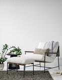 Scandinavian minimalist interior background, wall mockup, 3d render