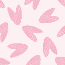 Scribbled Vector Pink Heart Seamless Pattern Background. Backdrop With Delicate Pencil Effect Scattered Rosy Color Hearts, Romantic Repeat For Valentine Day, Celebration, Engagement, Wedding