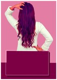 Composition of mixed race woman touching her hair on pink background