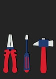 Composition of multiple tools icons on black background