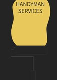 Composition of handyman services text over paint roller on black background