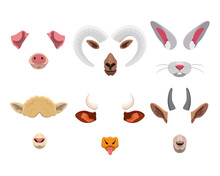 Animal Face Mask Set For Mobile Application. Cartoon Vector Illustration Of Cute Selfie Filters With Funny Ears, Nose, Horns And Tongue Isolated On White. Photo And Video Effects For Social Media