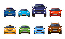Front View Of Cars Set. Vector Illustrations Of Sedan Auto Vehicles Isolated On White. Modern Automobile Transport For Urban Roads. Collection With Suv, Police Car, Taxi. City Traffic Concept