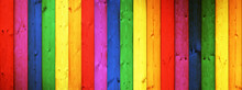Old Rustic Wooden Wall Table Floor Texture - Wood Background Panorama Banner Long, Rainbow Painting Colors LGBT
