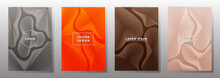 Curve Topography Lines Imitation Creative Vector Covers Set.