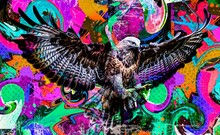 Colorful Artistic Eagle Muzzle With Bright Paint Splatters On Dark Background
