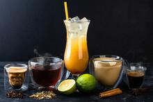 Set Of Scull Glass With Cofee, Black Tea, Orange Alcohol Cocktail, Cappuccino And Espresso