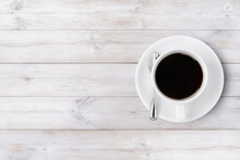 Coffee Cup Top View On Wooden Background With Copy Space