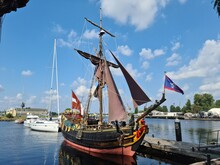 The Reconstructed Wooden Sailing Ship Libava Docked At The Pier In The Latvian Port Of Riga On A Hot Summer Day In 2021