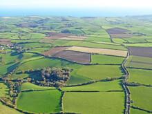Aerial View Of Fields In Devon