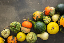 Decorative And Edible Pumpkins On A Green Background, Top View, Autumn Background, Copy Space