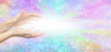Reiki Lightworker Healing Hands And White Light Message Banner - Female Hands With White Light Between Against A Multicoloured Ethereal Shimmering Background With Copy Space