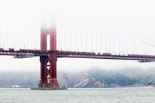 Heavy Fog Over The Golden Gate Bridge.