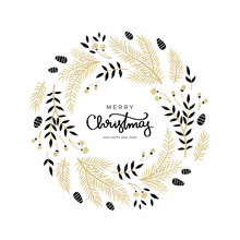 Christmas Wreath With Branches And Pine Cones In Gold And Black Color. Unique Design For Your Greeting Cards. Vector Illustration In Modern Style.