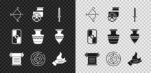 Set Medieval Bow With Arrow, Ancient Chariot, Sword, Decree, Parchment, Scroll, Minotaur Labyrinth, Hand Holding Fire, Greek Shield And Amphorae Icon. Vector