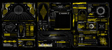 Abstract digital technology. Futuristic HUD, FUI, Virtual Interface. Cyberpunk retro futurism concept. Vaporwave abstract elements for web banners,  Futuristic info boxes layout templates. Hologram