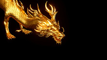 3D Rendering Of Golden Chinese Glow Dragon Isolated On Black Background