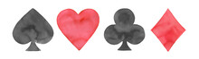 Watercolor Illustration Set Of Playing Cards Suits: Spades, Hearts, Clubs And Diamonds. Handdrawn Water Color Red And Black Drawing On White Background, Cutout Clip Art Elements For Design Decoration.