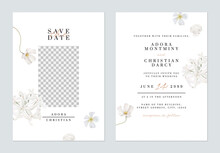 Floral Wedding Invitation Card Template, Various White Flowers On White