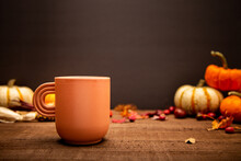 Fall Front View Background Composition. Coffee Mug, Fall Concept, Happy Thanksgiving Concept. Front View, Copy Space