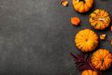 Fototapeta Kawa jest smaczna - Autumn composition with pumpkins on dark background