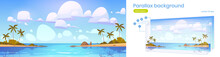 Tropical Landscape With Sea Bay And Palm Trees On Beach. Vector Parallax Background For 2d Animation With Cartoon Illustration Of Summer Seascape With Lagoon Or Harbor And Sand Shore