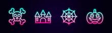 Set Line Skull On Crossbones, Castle, Spider Web And Pumpkin. Glowing Neon Icon. Vector