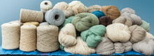 A Bunch Of Natural And Dyed Sheep Wool Yarn