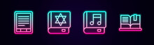 Set Line E-Book Reader, Jewish Torah Book, Audio And Open. Glowing Neon Icon. Vector