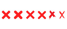 Red Cross X Vector Icons Set. No Wrong Delete Symbol