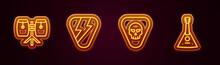 Set Line Conga Drums, Guitar Pick, And Balalaika. Glowing Neon Icon. Vector