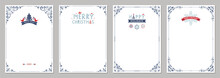 Merry Christmas Greeting Cards. Universal Trendy Business And Corporate Winter Holidays Art Templates.