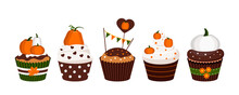 Cupcakes Pumpkin Dessert Set Isolated On White Background. Thanksgiving Or Harvest Festival Sweets Food - Icing Muffin With Chocolate White And Orange Pumpkins. Flat Design Cartoon Vector Illustration