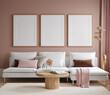 canvas print picture - Home mock up, modern living room interior background, 3d render