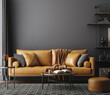 canvas print picture - Black living room interior with leather sofa, minimalist industrial style, 3d render
